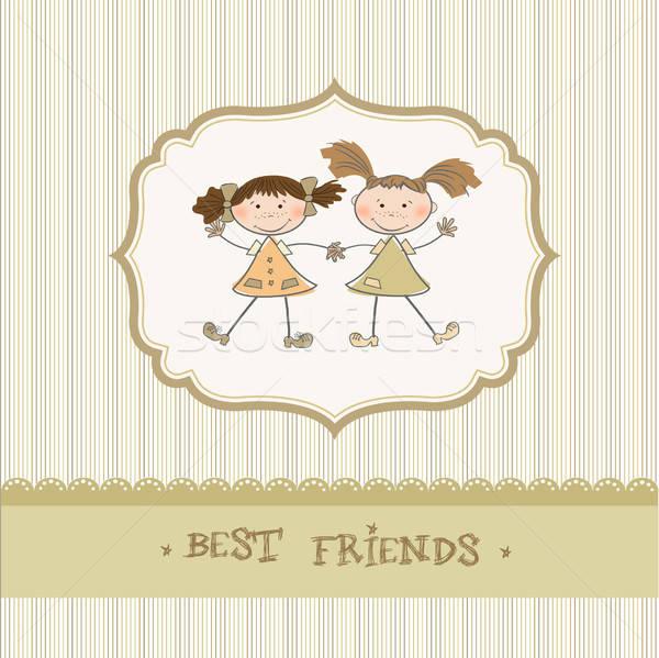 two little girls best friends Stock photo © balasoiu