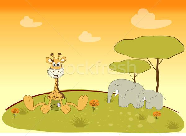 Baby douche kaart giraffe abstract ontwerp Stockfoto © balasoiu