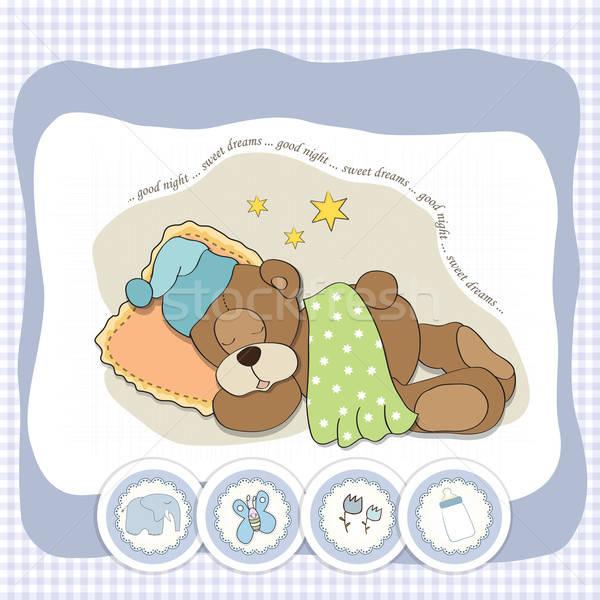 Sevimli oyuncak ayı bebek sevmek kalp rüya Stok fotoğraf © balasoiu