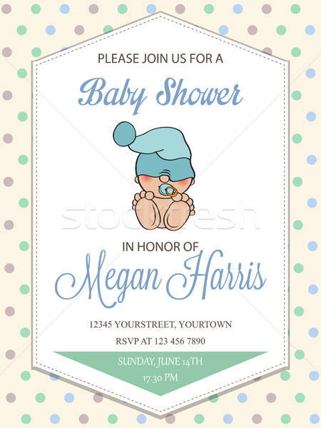 delicate baby boy shower card with little baby Stock photo © balasoiu
