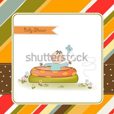 Cute kartkę z życzeniami słoń ukryty buty dziewczyna Zdjęcia stock © balasoiu