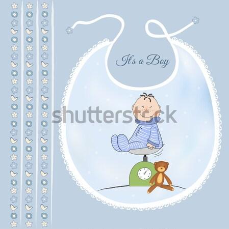 Bebek erkek duş kart komik şemsiye Stok fotoğraf © balasoiu