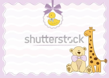 baby boy shower card with cute teddy bear Stock photo © balasoiu