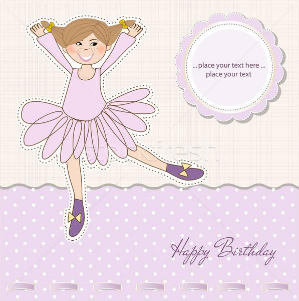 Doğum günü tebrik kartı çocuk saç güzellik çocuk Stok fotoğraf © balasoiu