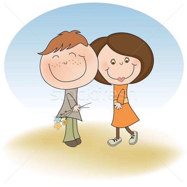happy lovers couple Stock photo © balasoiu
