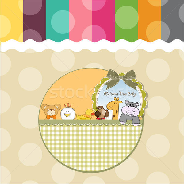 baby shower card with funny animals Stock photo © balasoiu