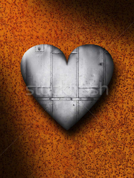 Sheet Metal Heart Against a Rusty Background Stock photo © Balefire9
