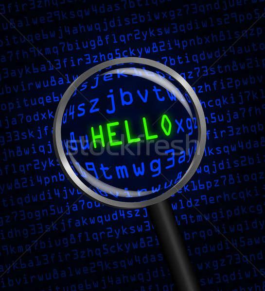 Hello számítógép kód nagyító szó piros Stock fotó © Balefire9