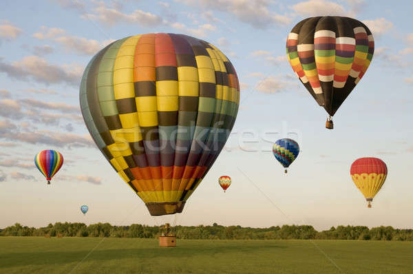 Various hot-air balloons floating over a field Stock photo © Balefire9