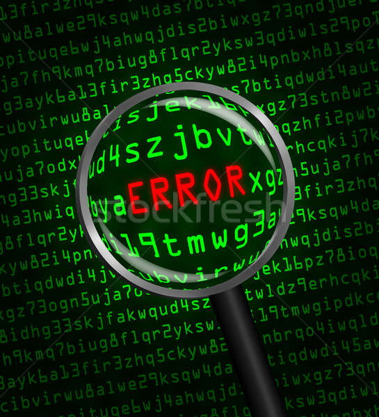 'ERROR' revealed in computer code through a magnifying glass  Stock photo © Balefire9