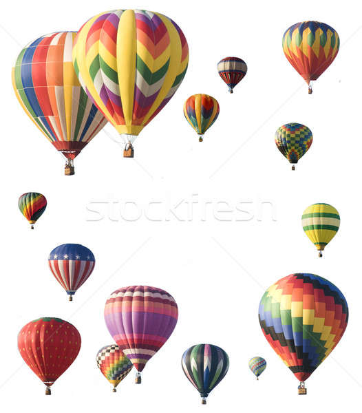 Hot-air balloons arranged around edge of frame allowing space fo Stock photo © Balefire9