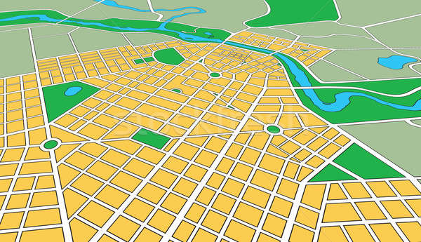 Map of Generic Urban City in Perspective Angle Stock photo © Balefire9