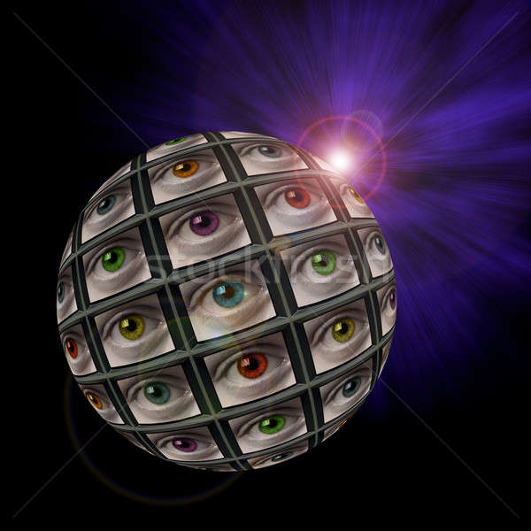 Sphere of video screens showing multi-colored eyes Stock photo © Balefire9