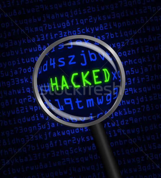 Foto stock: Azul · palavra · verde · computador · código · máquina