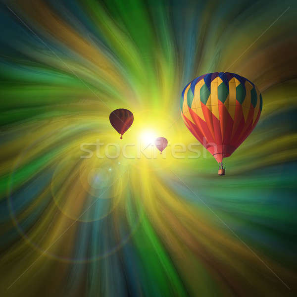 Hot-Air Balloons Flying in a Vortex Stock photo © Balefire9