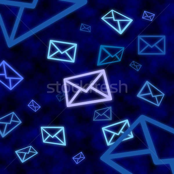 E-mail mensagem ícones flutuante azul ciberespaço Foto stock © Balefire9