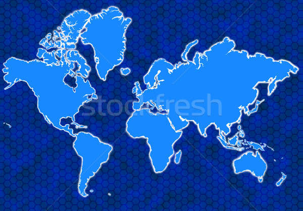 Blue global map with hexagons and glowing continents Stock photo © Balefire9