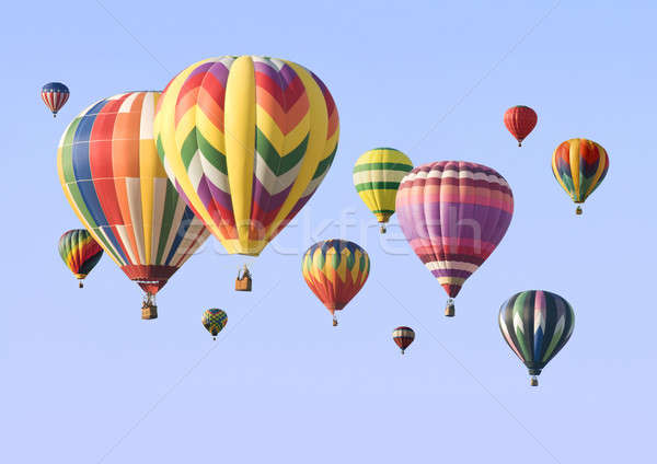 A group of colorful hot-air balloons floating Stock photo © Balefire9