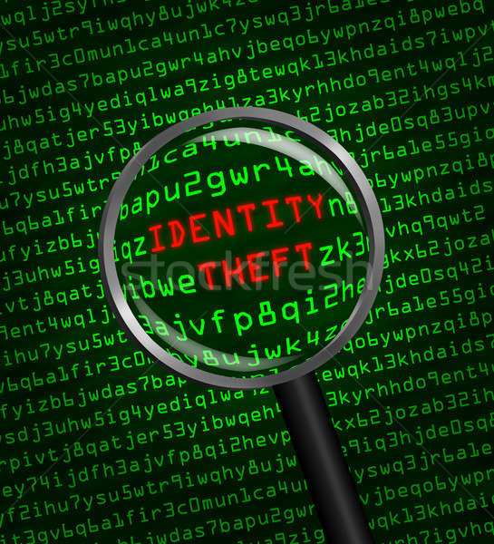 Identity Theft revealed in computer code through a magnifying gl Stock photo © Balefire9