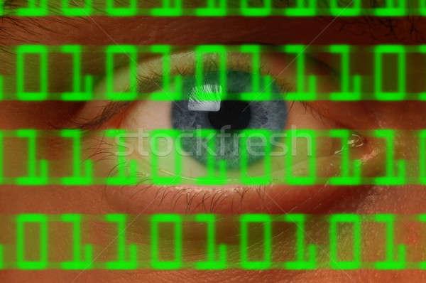 Globo del ojo viendo digital código binario primer plano ordenador Foto stock © Balefire9