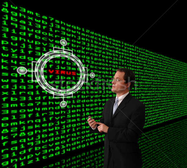 Man detecting computer virus in a firewall of machine code Stock photo © Balefire9