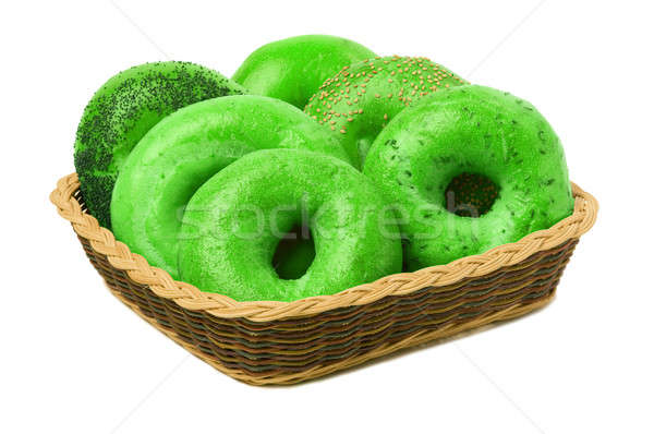 Six Green Bagels in a Basket Stock photo © Balefire9