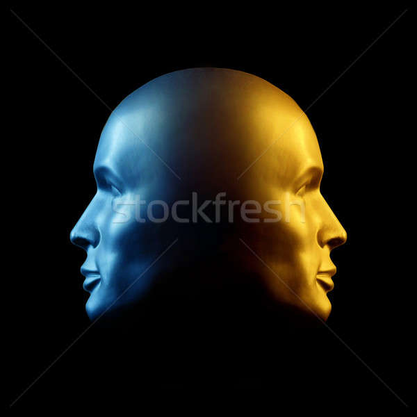 Two-faced head statue, blue and gold Stock photo © Balefire9