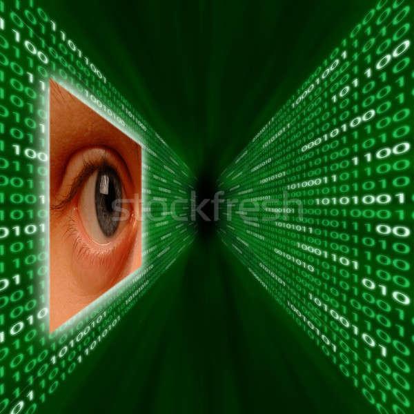 An eye monitoring a corridor of binary code Stock photo © Balefire9