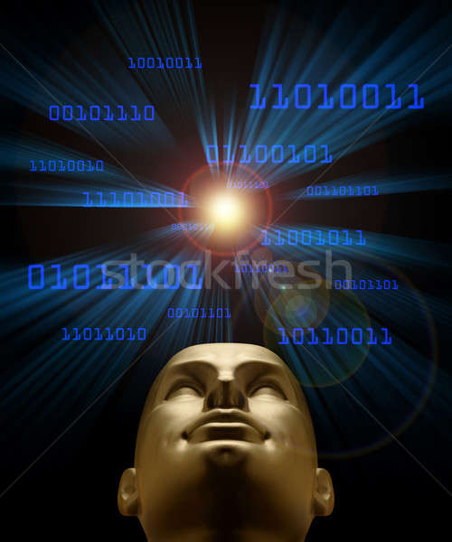 Artifical intelligence as symbolized by blue binary code flying  Stock photo © Balefire9