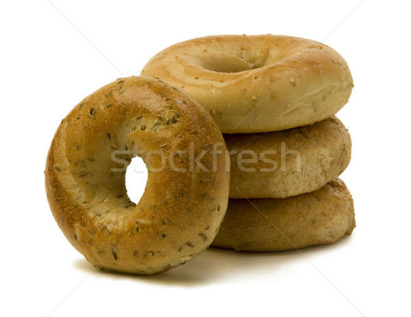 Stack of Three Bagels with One Leaning on the Side  Stock photo © Balefire9