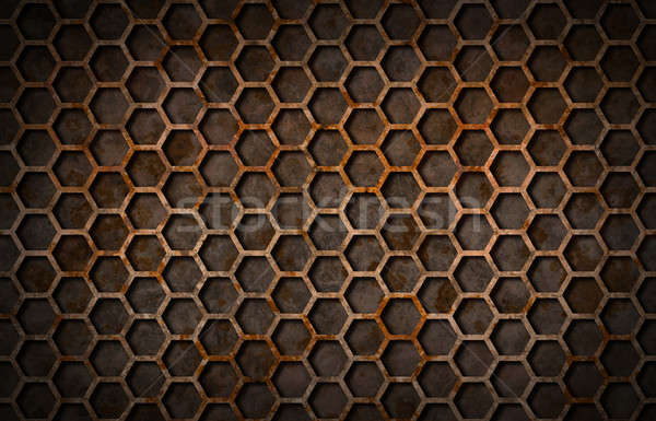 Rusty hexagon pattern grate texture Stock photo © Balefire9