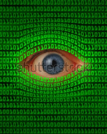 Oog vierkante draaikolk binaire code centrum computer Stockfoto © Balefire9