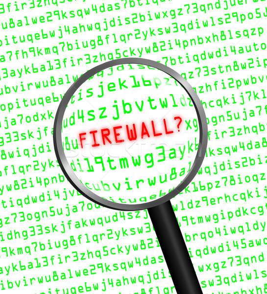 Tűzfal számítógép kód nagyító szó piros Stock fotó © Balefire9