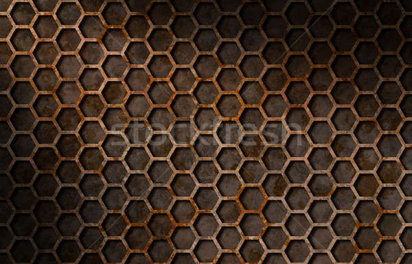 Rusty hexagon pattern grate texture lit diagonally Stock photo © Balefire9
