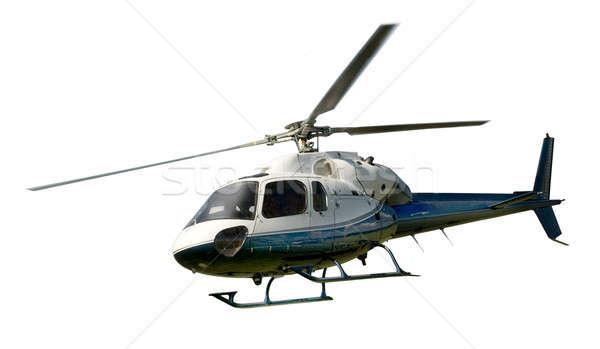 ヘリコプター 飛行 孤立した 白 青 ストックフォト © Balefire9