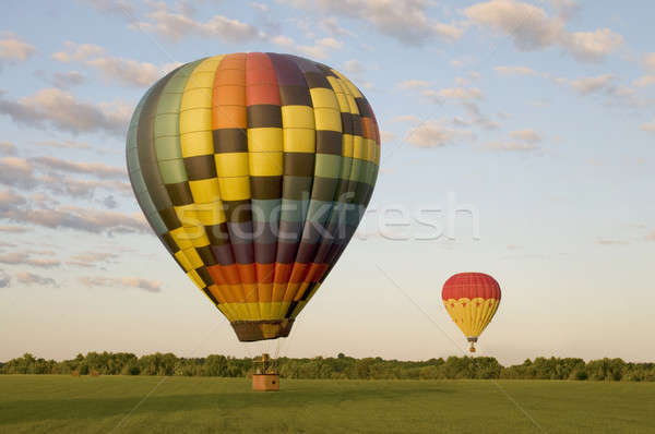 Two hot-air balloons in a field Stock photo © Balefire9