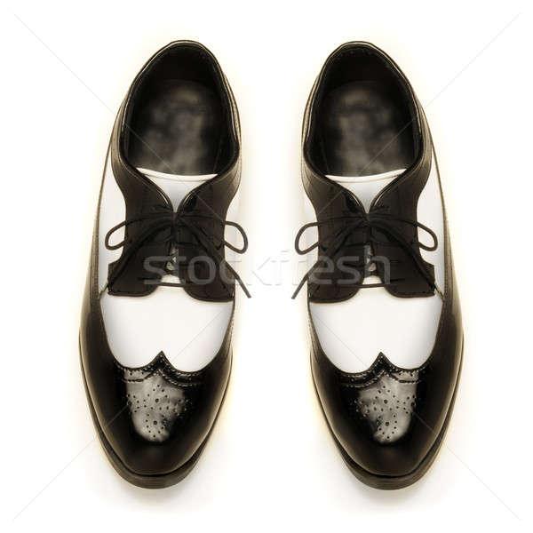 Brevet cuir chaussures blanc noir blanche Photo stock © Balefire9