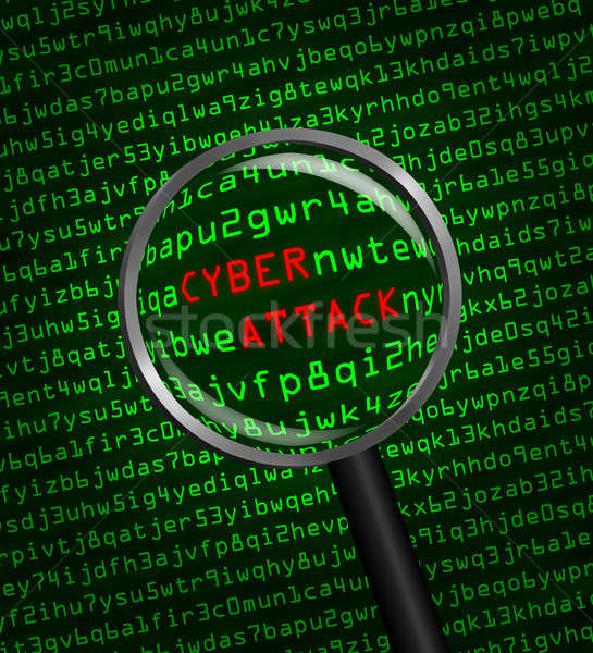 Cyber Attack revealed in computer machine code through a magnify Stock photo © Balefire9