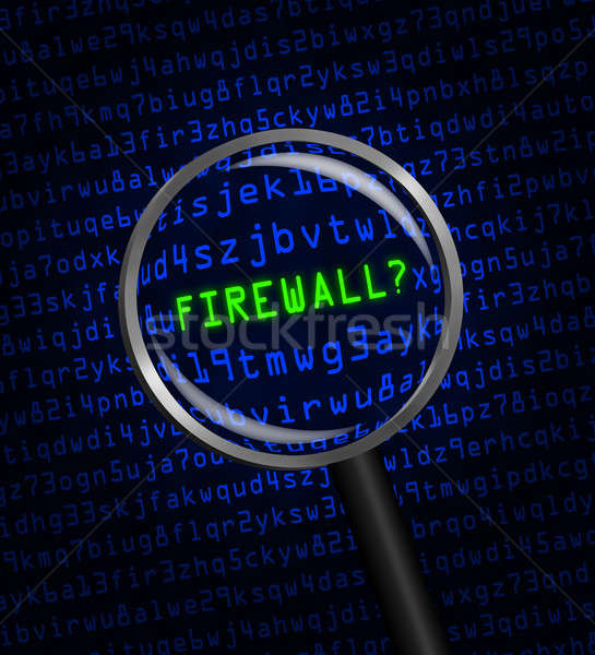 'FIREWALL?' revealed in computer code through a magnifying glass Stock photo © Balefire9