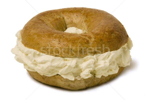 ベーグル クリーム チーズ 全粒小麦 寛大な ストックフォト © Balefire9