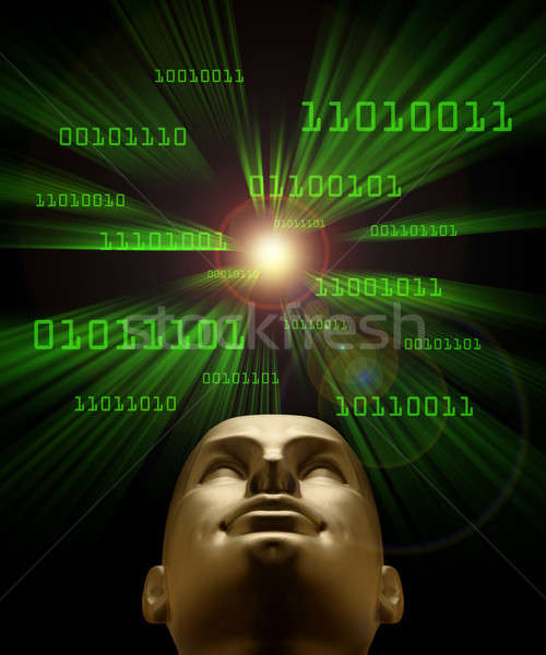 Artifical intelligence as symbolized by green binary code flying Stock photo © Balefire9