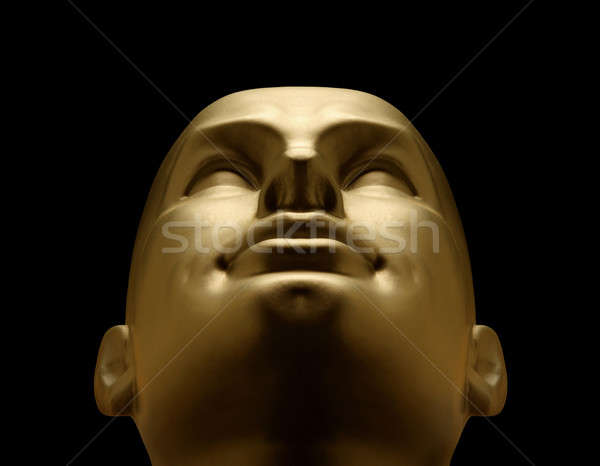 Złota manekin głowie czarny technologii Zdjęcia stock © Balefire9