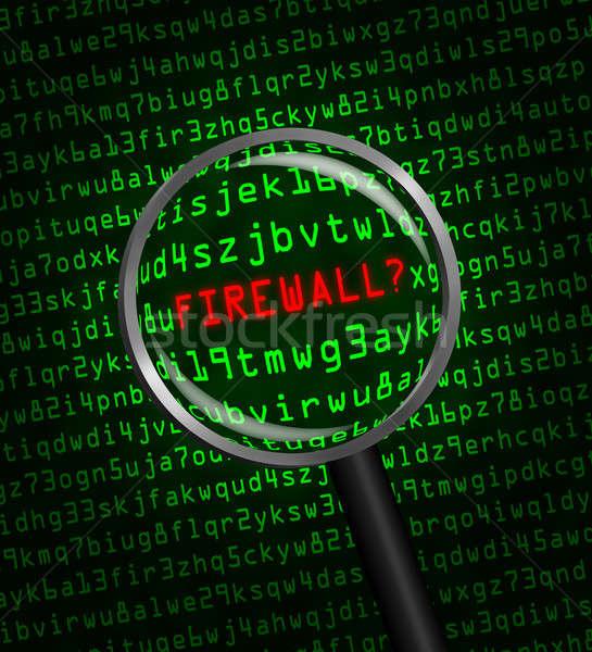 Firewall komputera kodu lupą słowo czerwony Zdjęcia stock © Balefire9