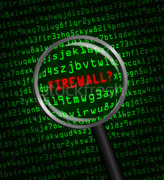 Firewall computer code vergrootglas woord Rood Stockfoto © Balefire9