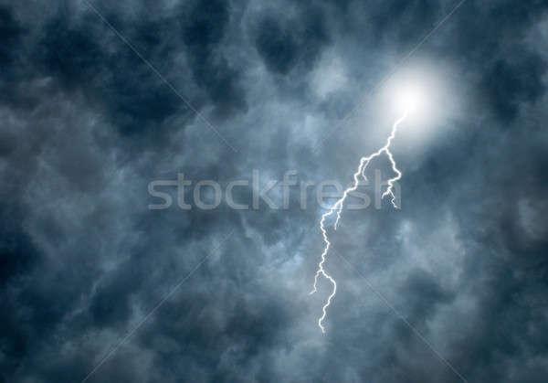 Villám sötét viharfelhők villám vihar Stock fotó © Balefire9