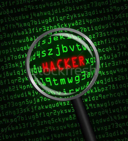 Stock fotó: Hacker · számítógép · kód · nagyító · szó · piros