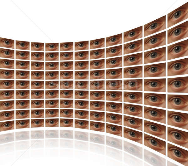 Curved wall of video screens with eyes  Stock photo © Balefire9