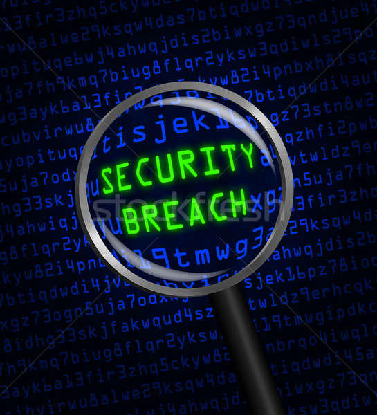 SECURITY BREACH in green revealed in blue computer code through  Stock photo © Balefire9