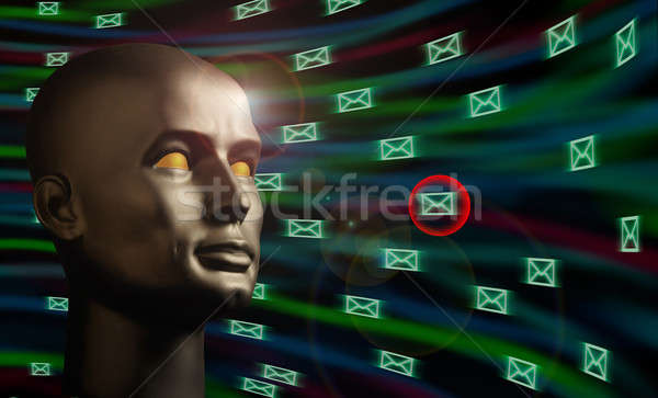 Mannequin head monitoring e-mail messages in cyberspace Stock photo © Balefire9