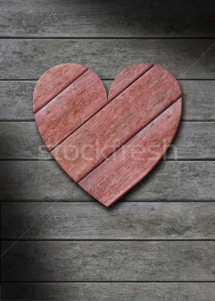 Red wood heart on gray weathered wooden background Stock photo © Balefire9